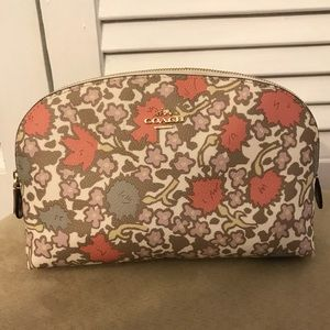 Authentic Floral Printed Coach Cosmetic Case